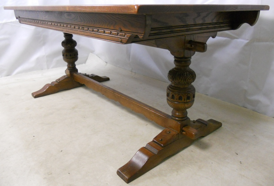 Heavy Oak Refectory Dining Table Old Charm Style